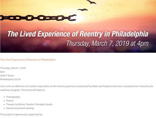 """Join Baker Industries at their """"The Lived Experience of Reentry in Philadelphia"""" Event, Ma"""