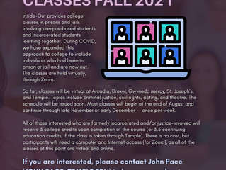 Inside-Out College Classes This Fall for Justice Involved People