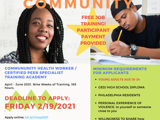 Free Community Health Worker/ Peer Specialist Training for Young Adults Impacted by Violence