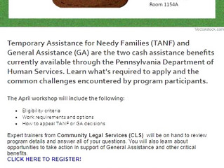 Register now: Philadelphia Benefits Access Coalition Workshop on TANF and GA Eligibility