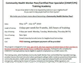 Community Health Worker Peer (CHWP)/Certified Peer Specialist (CPS) Training Academy