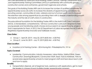 Register for the Philadelphia Apprenticeship Readiness Program