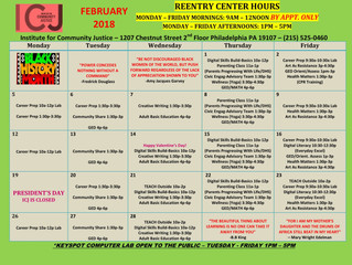 Institute for Community Justice: February Reentry Center Hours