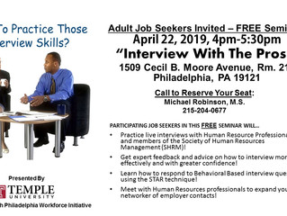 "Adult Job Seekers Invited – FREE ""Practice with the Pros"" Seminar!"
