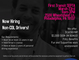 First Transit Hosting Hiring Event for Non CDL Drivers - March 23rd