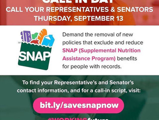 National #saveSNAP Call-in Day! (September 13th)