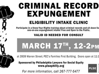 PLSE Criminal Record Expungement Eligibility Intake Clinic