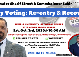 Join Senator Sharif Street This Weekend for Reentry Early Voting Event at the Liacouras Center