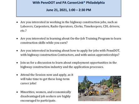 Join PennDOT for an Info Session on Highway Construction Trades - June 21st