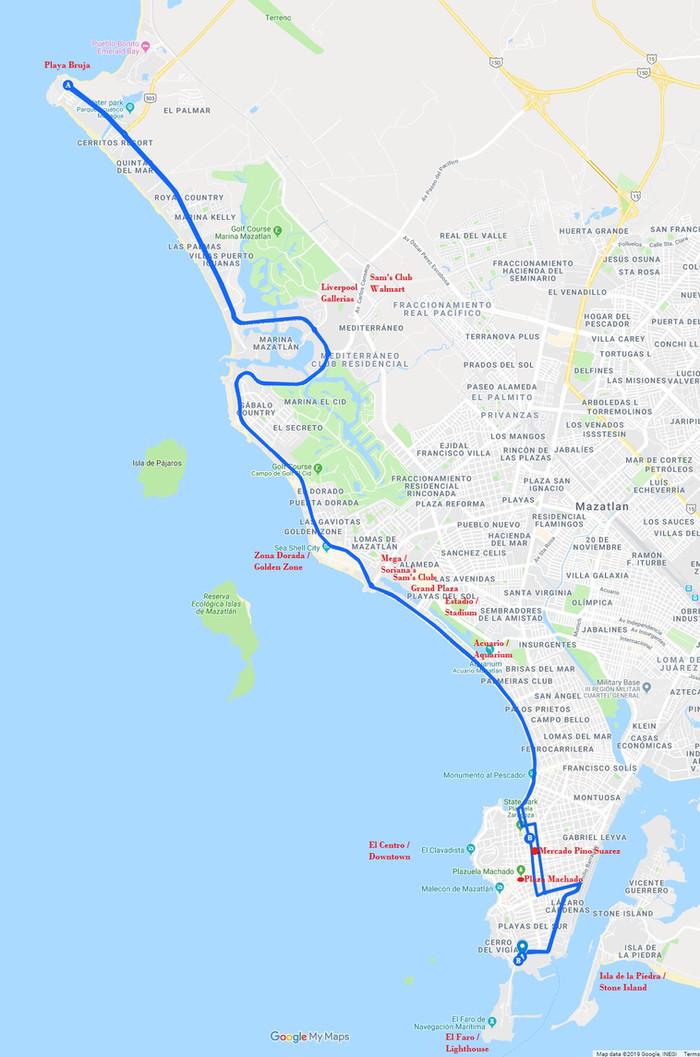 Mazatlan Bus Routes - Rutas de autobuses de Mazatlán