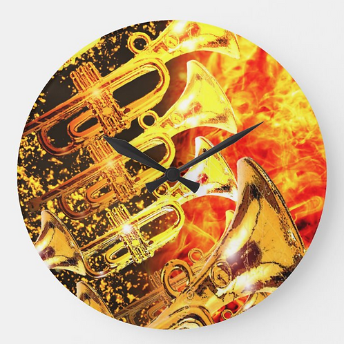 Heir Trumpets Wall Clock by Isaiah Brown