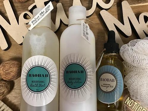 BAOBAB Collection. Body Gel. Body Lotion. Massage Oil. Skin Nourishment. NM220