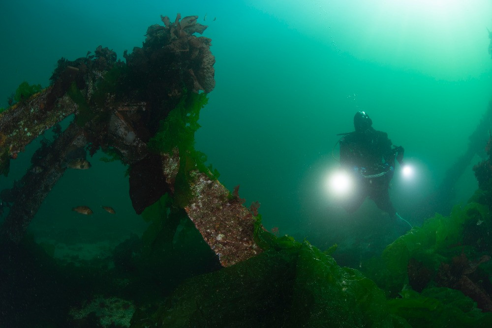 Diver filming an artificial reef