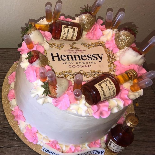 Pink Hennessy cake