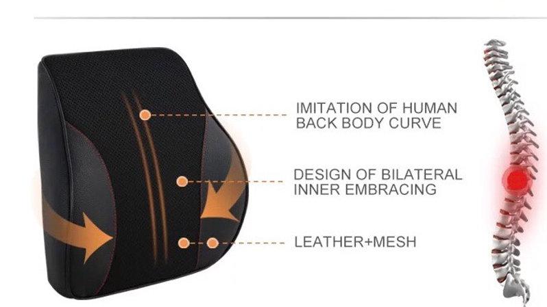 Memory foam orthopaedic lumbar support for lower back  black - 1pc