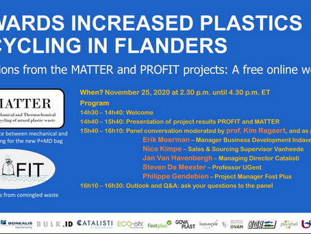 Towards increased plastic recycling: results of MATTER & PROFIT projects