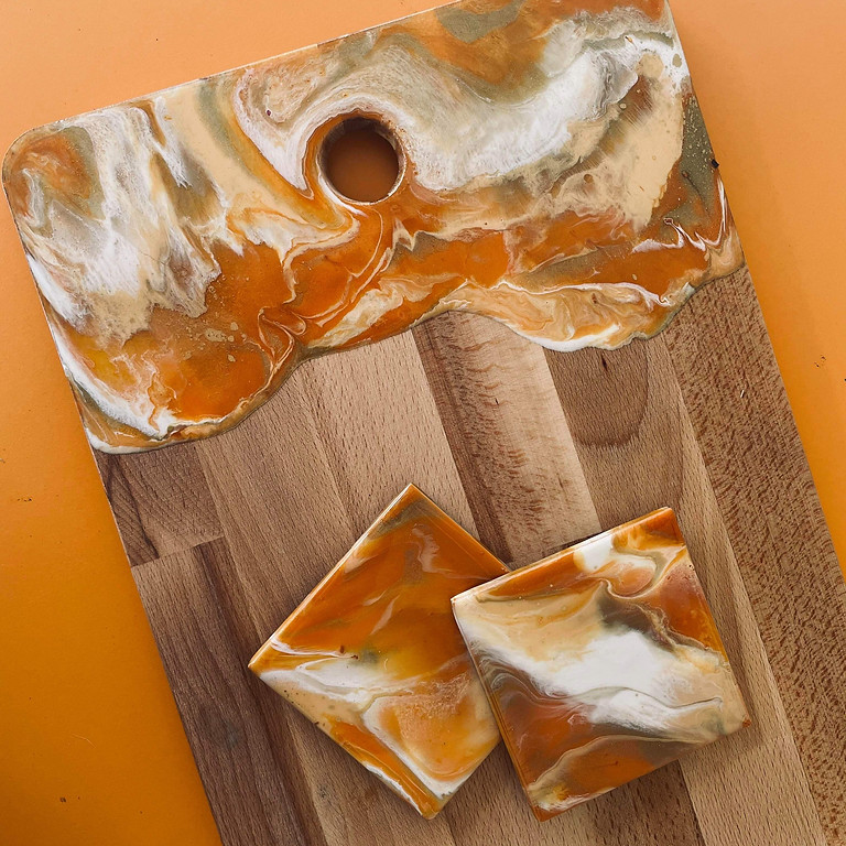 OXENFORD - CAFE TAHBELLA - Learn to make a resin serving board + 2 coasters!