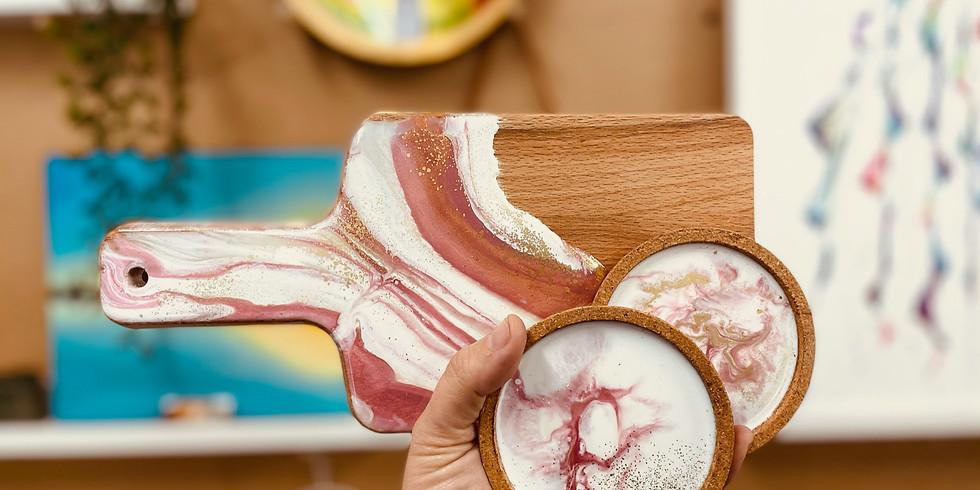 HOPE ISLAND - DEGANI - Learn to make an resin agate mini board and 2 coasters!