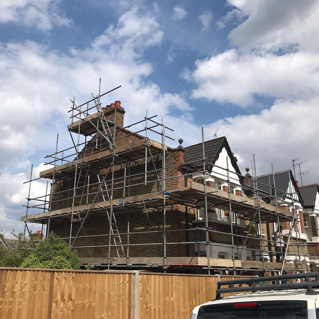 Kent scaffolding for general building repairs with back addition