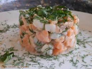 Tartare de saumon sauvage à la crème de vodka