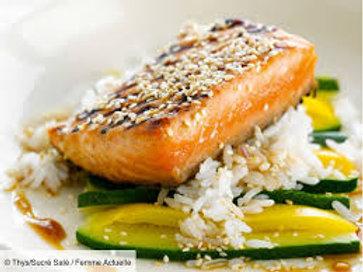 Pavé de saumon grillé aux herbes folles