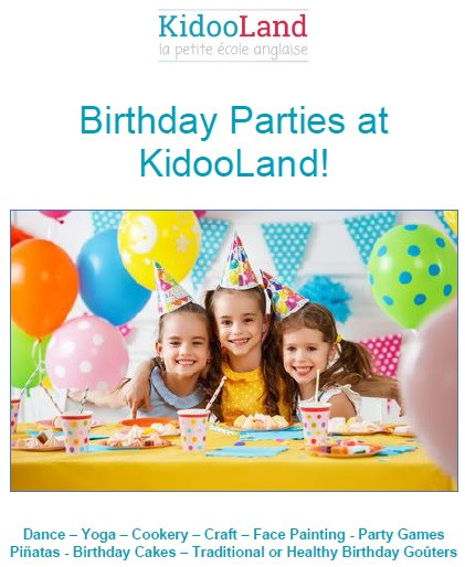 Birthday parties at KidooLand with room rental and party organisation