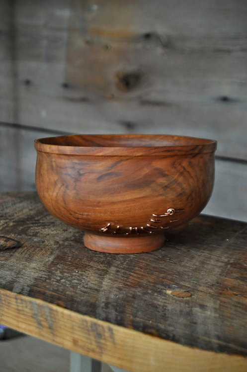 APPLE WOOD BOWL with COPPER SEWN MEND
