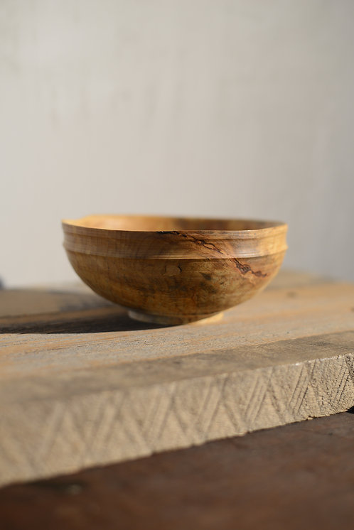 SPALTED MAPLE BOWL with BARK INCLUSION