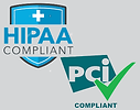 Shows HIPAA an PCI Compliance logos to represent these audits can be met