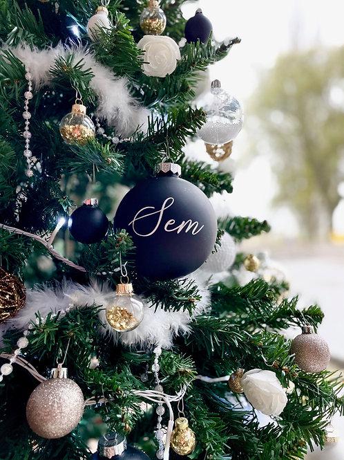Kerstbal zwart 10cm - glanzend