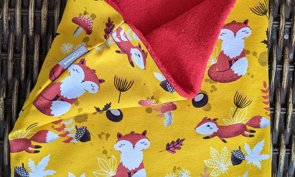 Foresting foxes (yellow) - Cotton Sherpa Fleece Lined
