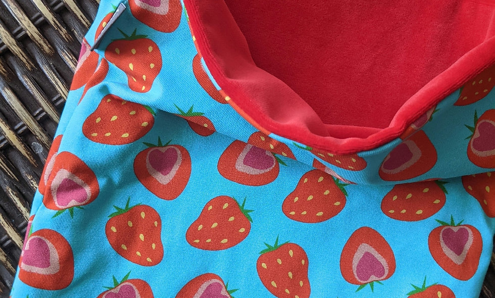 Funky strawberries - Red Sherpa Fleece Lined