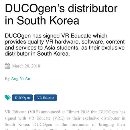 듀코젠, 홍콩 VR Educate 사와 상호 제품 공급에 대한 독점적 파트너십을 체결함.
