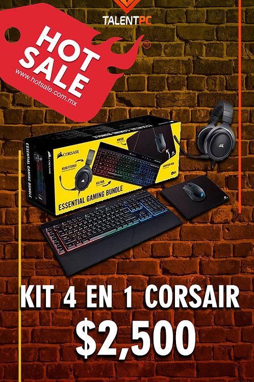 KIT Corsair gamer 4 en 1 | Teclado K55 RGB | Headset HS50 | Mouse Harpoon RGB y