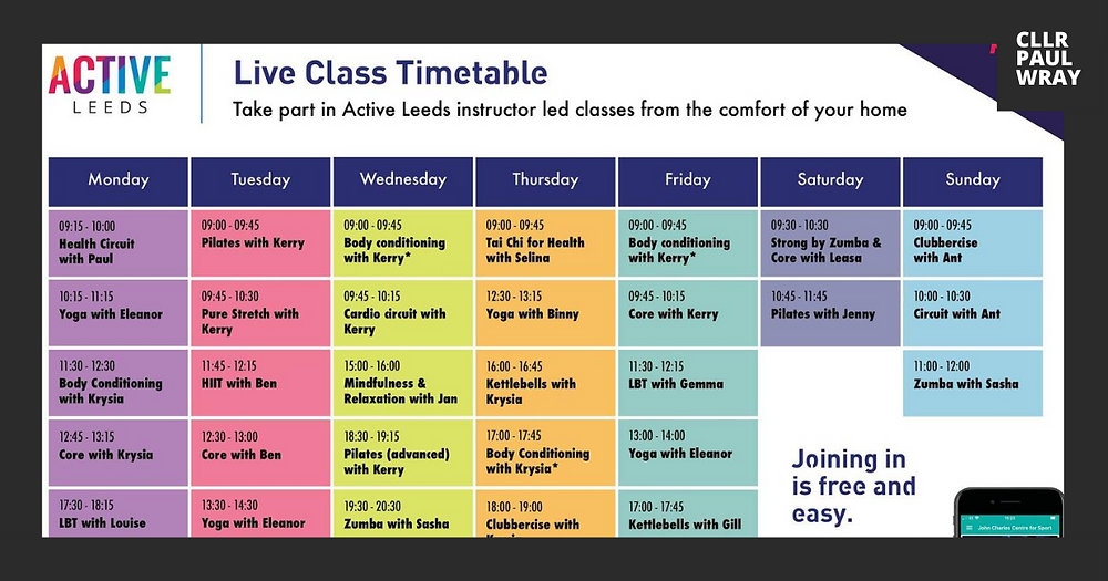 Active Leeds Time Table