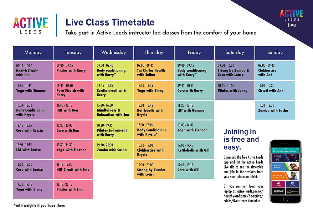Active Leeds Online Classes Time Table