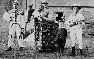 Sam Bennett (right) with Alvin Terry on Sam the hobby horse with unknown others