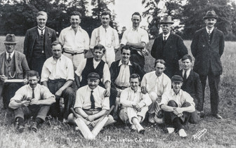 Ilmington cricket club 1923. Back: Mr Shutt (B'ham), Harold Righton, Donald Crossley, Frank Foster, ?, Mr Boswell. Middle: PC Miles, Bill Firkins, Fred Fairbrother, ?, Frank Firkins, Bill Payne. Front: Will Ingram, Lloyd Biles, P Shutt, ?, Hotchkiss, CB Field Fann