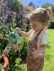 Two-year-old May waters the sweet peas at Bookend Cottage - Summer 2020