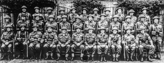 Ilmington Home Guard 1945 - Back row: Tommy Wilkins, Henry Ashby, Frank Clifford, Joe Rolfe, Sam Freeman, ?, ?, Charlie Mathews, Russell Sabin, Norma Hall, ?. Middle row: Charles Sabin, ?, Tom Berry, Bill Rolfe, Ern Downes, Johnny Hemming, Louis Wilkins, Bernard Wilkins, Bill Gayden, Bill Hall, Bernard Smith(?), Bob Cox. Front row: Bert Empson, Diggy Digweed, Jim Handy, Sam Handy, Captain Learmouth(?), Major Rodykernacki(?), ?, Captain Livingstone(?), Lt Carte, Stan Mathews, Jack Vincent, Bob Spencer