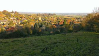 Sunny autumn village