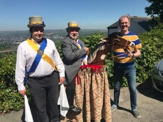 Ilmington Morris' new hobby horse 'Sam-son' after the original was called 'Sam' - constructed by a professional puppet & animation constructor Naomi Parker from Bingley in West Yorkshire.  Seen here with Rob Harris, Mike Bell (on horse back!) and Paul Bryan - April 30th 2021