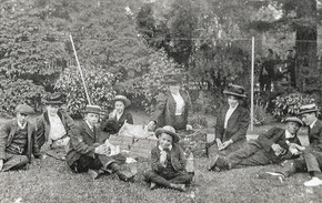 Picnickers on the lawn at Foxcote Fete