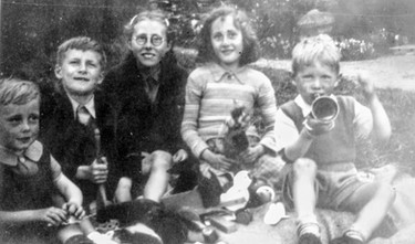 Group of children inc. Rene Sabin (3rd from left)