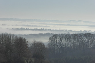 View from Redlands Barn on Foxcote Hill towards Brailes Hill in winter