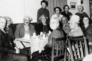 Wednesday club Christmas supper - Back row: Len Sabin, Eva Peachey, ?, ?, Angela Ward, Flo Hall, ?, ?, ?,?. Front row: Eunice Sabin, Patty Bennett, Nellie Parker.