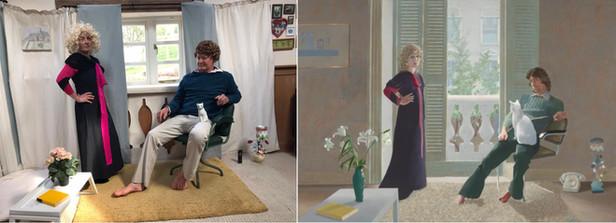 Mr & Mrs Clark and Percy (David Hockney)