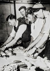 Preparing exhibits for flower show - Fred Williams, Bernard Gardner, Bert Empson, Mike Empson