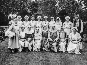 1936 pageant - Back row: ?,?, F Horne, ? Foster, Alice Cooke, Mrs S Bennett, Mrs Wyniatt, Clara Cook, Mrs Barnes, Mo Freeman. Front row: Mrs Stevenson, ?, Mrs Dumbleton, Mrs Jean Foster, Mrs Hand, Mrs Crossley, Mrs Rolfe, Mrs Sherriff