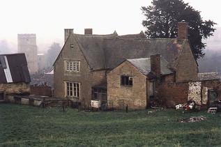 Hill Farm house and St Mary's church, Ilmington. 1987